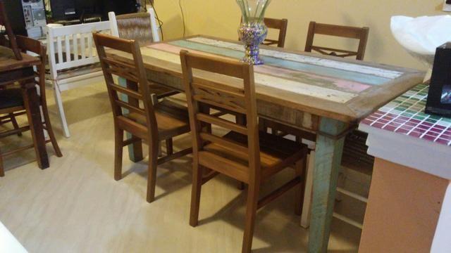 Jg mesa 6 cadeiras peroba rosa com pátina usado - Foto 2