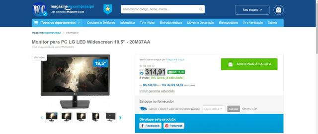 Monitor LG para PC Widescreen 19,5 20M37AA