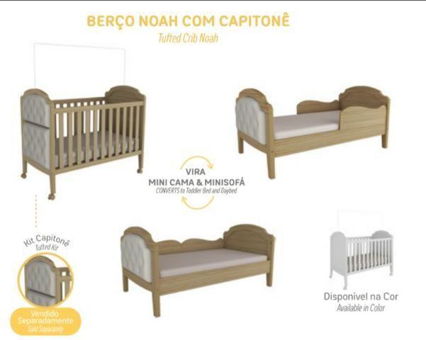 Frete Grátis* Quarto Infantil , Armário Cômoda e Berço com Captonê - Luxo Noah *NOVO - Foto 2