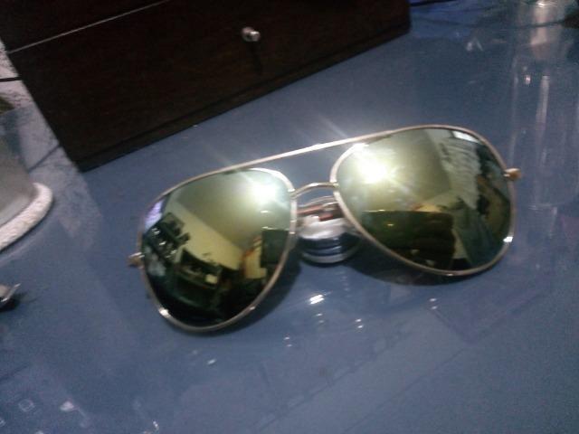 143f84b37db70 Óculos de Sol   Escuro - Lente Espelhada - Estilo Aviador Rayban ...