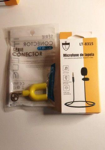 Kiti microfone de lapela+ adaptador para live, gravações, palestra  - Foto 4