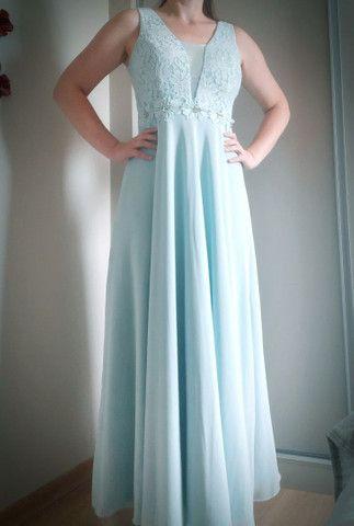 Vestido longo madrinha Azul Serenity