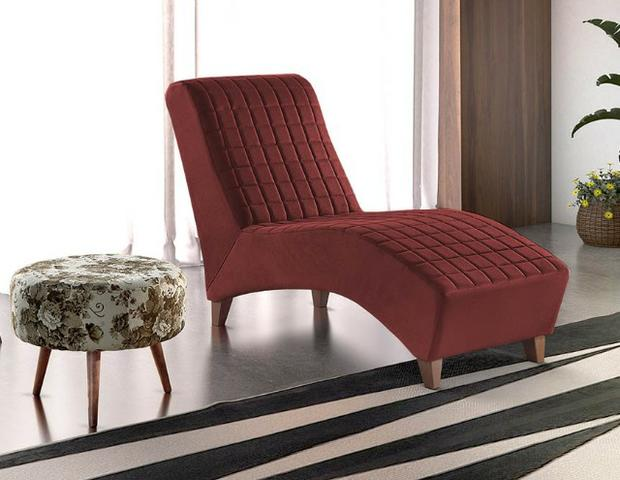 Divã Logue Chaise Super Luxo Bordô