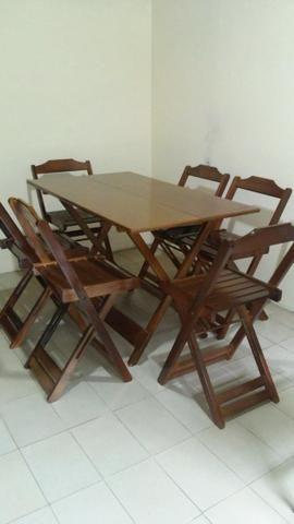 Conjunto Dobrável Mesa 120x70 com 6 cadeiras - Foto 2