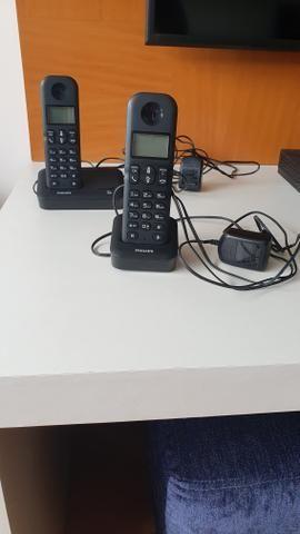 Telefone sem fio Philips com 2 bases e identificador de chamadas - Foto 2
