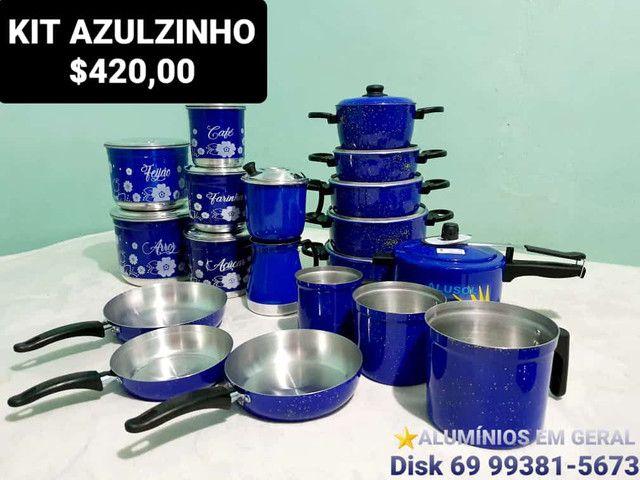 Jogos de panelas e utensílios na cor azul. - Foto 4