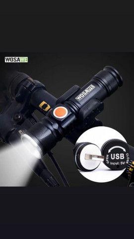 Lanterna recarregável muito forte pedal noturno  - Foto 2