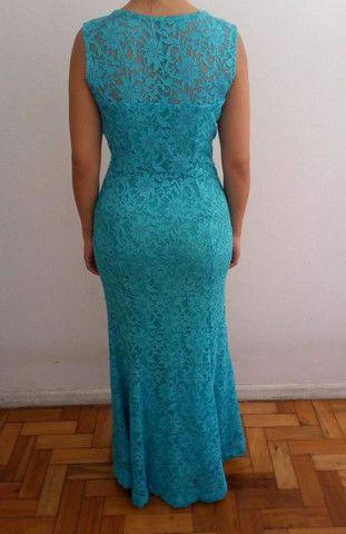 Vestido de festa longo verde tiffany - Foto 2