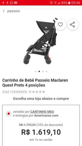 Carrinho de BB McLaren e banheira trocador - Foto 2