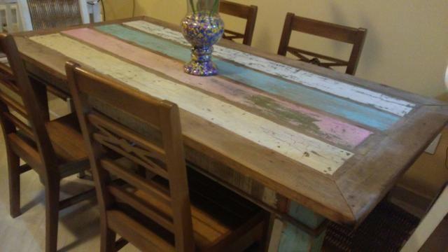 Jg mesa 6 cadeiras peroba rosa com pátina usado - Foto 3