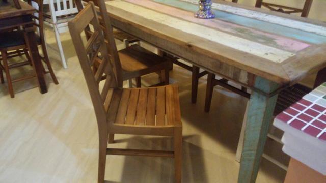 Jg mesa 6 cadeiras peroba rosa com pátina usado - Foto 4