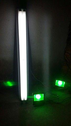 Duas luminaria de led Verde e duas lampadas florecente com o suport e com reator