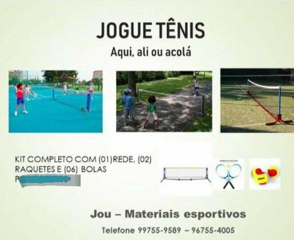 Kit para jogar tênis com rede, raquetes, é bolas