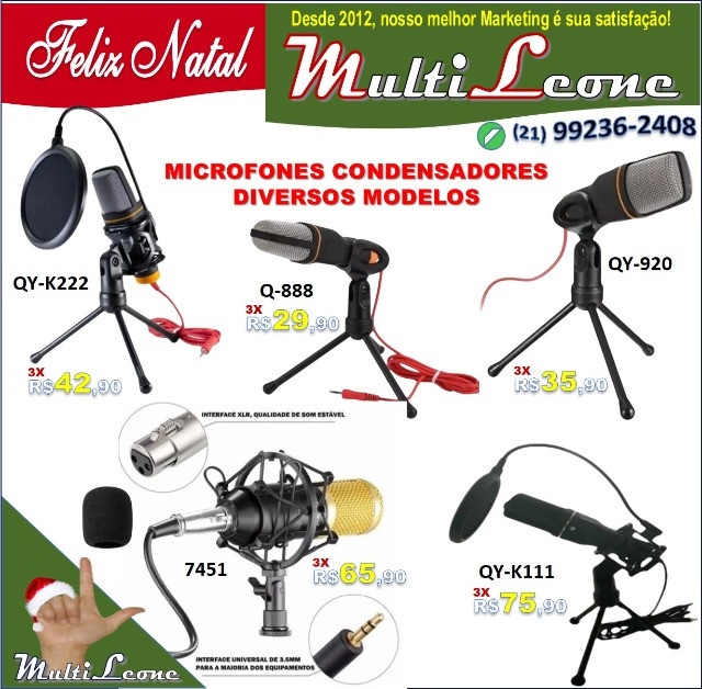 Microfone Estúdio Profissional Condensador Andowl 7451 - Foto 5