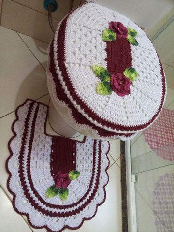 Jogo de banheiro 3 peças em crochê  - Foto 3