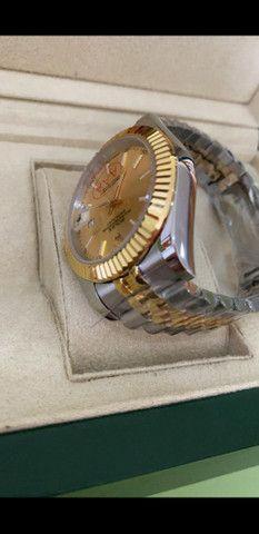 Relógio Rolex Datejust Prata com Dourado automático a prova d'água Completo - Foto 3