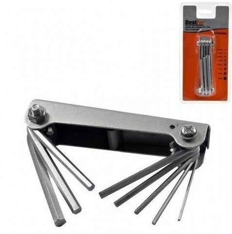 Jogo de Chaves Allen Hexagonal Tipo Canivete Kit c/ 8 Pontas - Bestfer