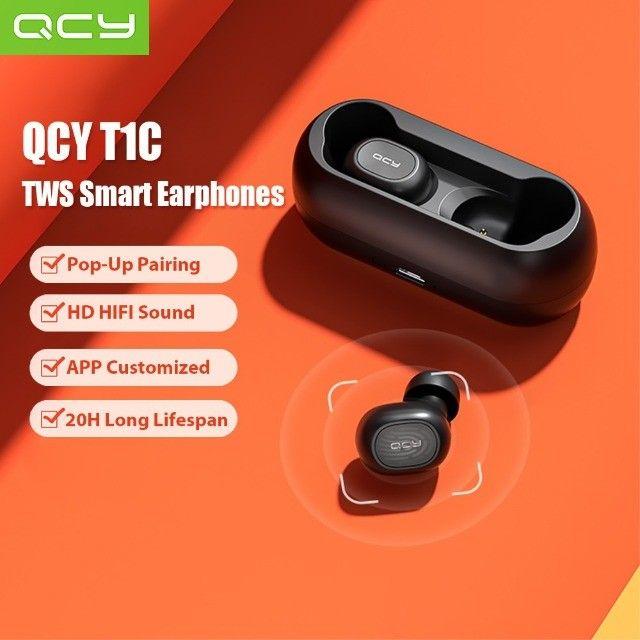 Fone de ouvido In-ear sem fio Xiaomi QCY T1C branco e Preto - Foto 5