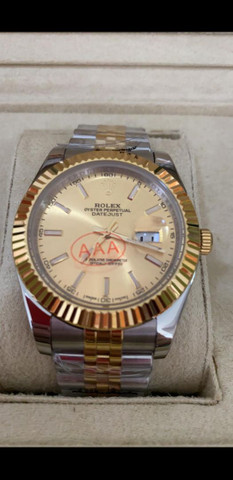 Relógio Rolex Datejust Prata com Dourado automático a prova d'água Completo