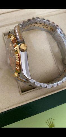 Relógio Rolex Datejust Prata com Dourado automático a prova d'água Completo - Foto 4