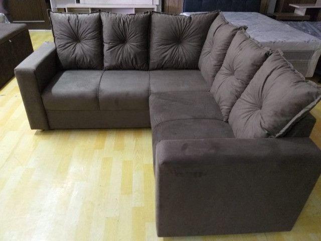 Oferta**Sofa De Canto Animalle , Suede, 1,80x1,80m *Novo - Foto 6