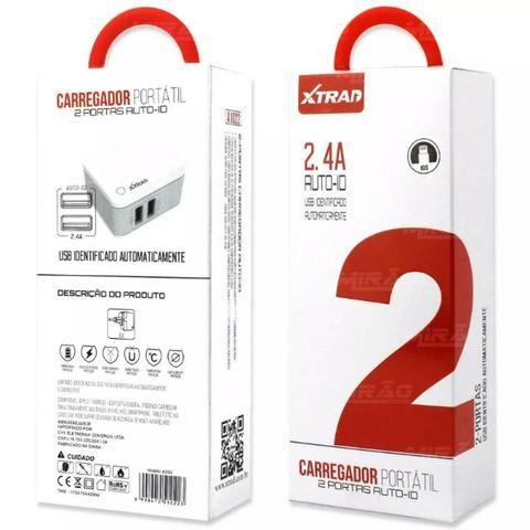 Carregador Inteligente Portatil 2 Usb Portas 2.4 A -1022 + Cabo Iphone - Mega Infotech !! - Foto 4
