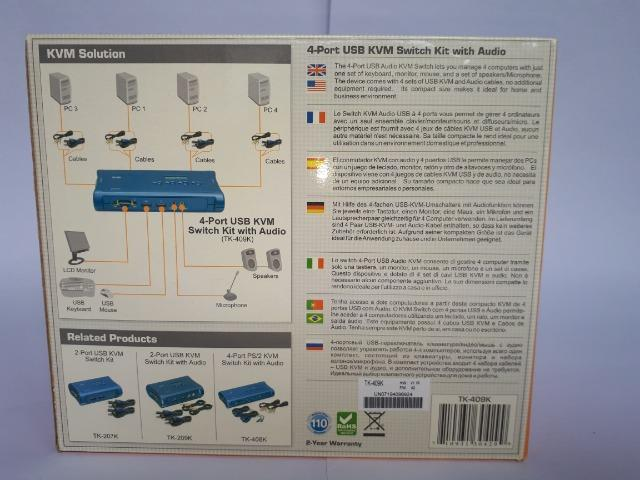 Kit chaveador Kvm TK-409K - USB 4 portas com áudio - Foto 6