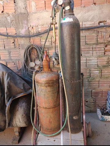 Oxigênio cetileno massarico mangueiras e carrinho