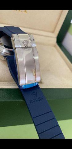 Relógio Rolex Yacht Master Pulseira de borracha Azul a prova d'água Completo - Foto 3