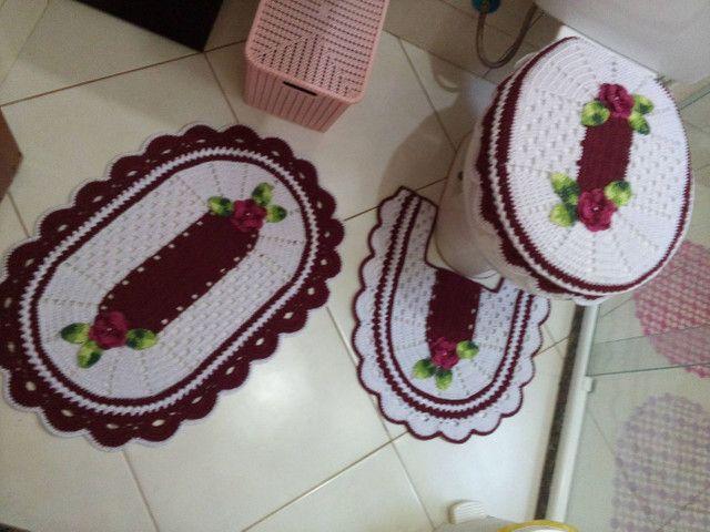 Jogo de banheiro 3 peças em crochê  - Foto 4