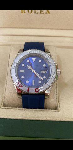 Relógio Rolex Yacht Master Pulseira de borracha Azul a prova d'água Completo