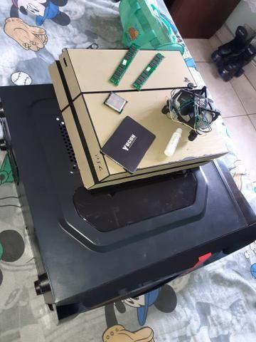 Ps4 fat sem manete e sem hd ssd 120gb 8gb de ram ddr3 cooler intel i5 2300 gabinete shark