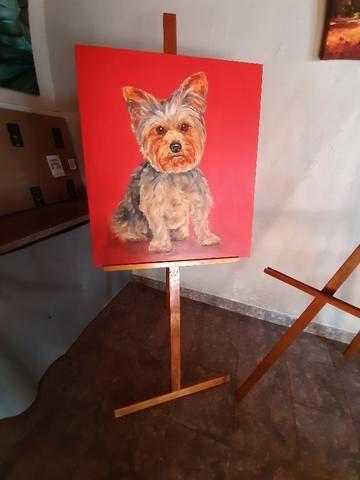 2 Cavaletes de madeira para pintura em tela e exposição - Foto 2