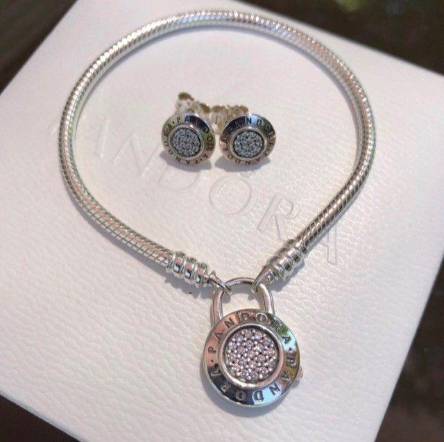 Conjunto Pandora Signature Bracelete e Brinco