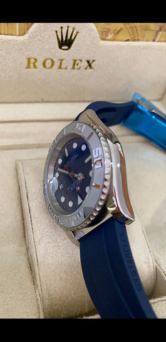 Relógio Rolex Yacht Master Pulseira de borracha Azul a prova d'água Completo - Foto 4