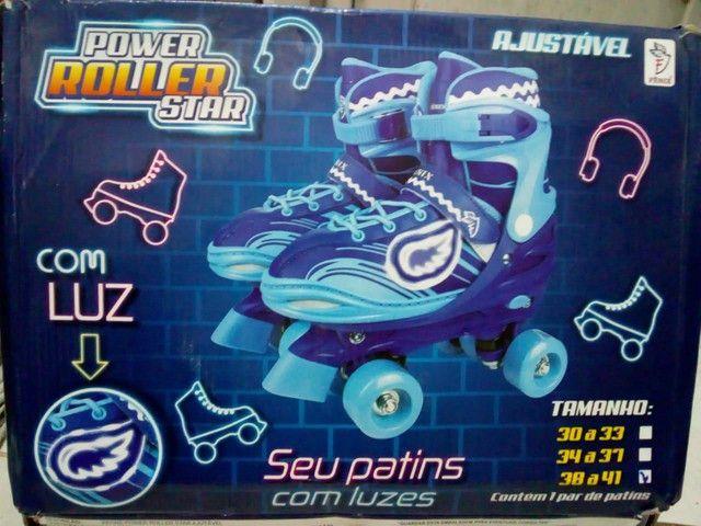 Patins Power Roller Star com Luzes
