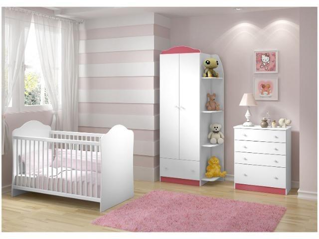 Quarto de Bebê Completo com Berço Guarda-Roupa - e Cômoda Multimóveis Confete Luiza - Foto 2
