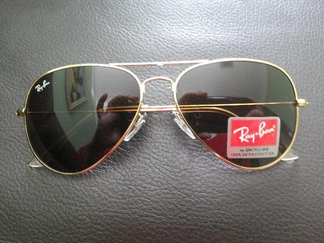 Óculos - Ray-Ban - armação dourada - estilo aviador - novo ... 7cd511b944