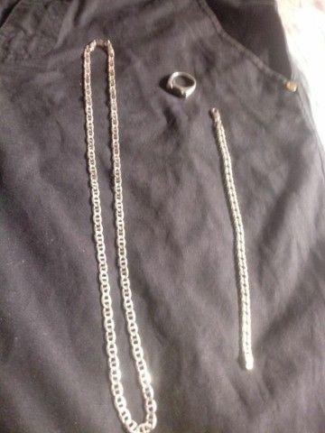 Cordao de prata 925+puceira de prata 925+dedante de prata 925