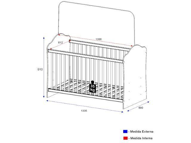 Quarto de Bebê Completo com Berço Guarda-Roupa - e Cômoda Multimóveis Confete Luiza - Foto 5