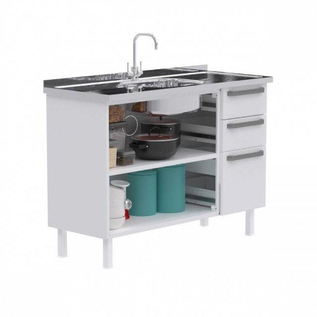 Gabinete de Cozinha Colormaq verona para Pia  de 1,20m em Aço - Foto 4