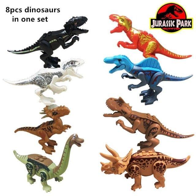Lego compativel Dinossauros Jurassic Park 8 pçs Lindo Presente Criança Coleção