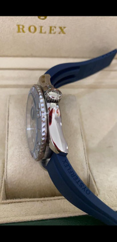 Relógio Rolex Yacht Master Pulseira de borracha Azul a prova d'água Completo - Foto 2