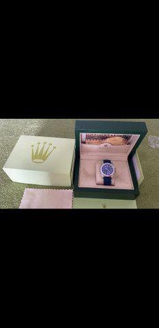 Relógio Rolex Yacht Master Pulseira de borracha Azul a prova d'água Completo - Foto 6