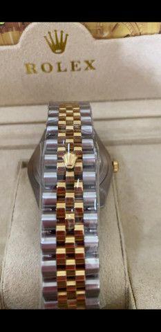Relógio Rolex Datejust Prata com Dourado automático a prova d'água Completo - Foto 5