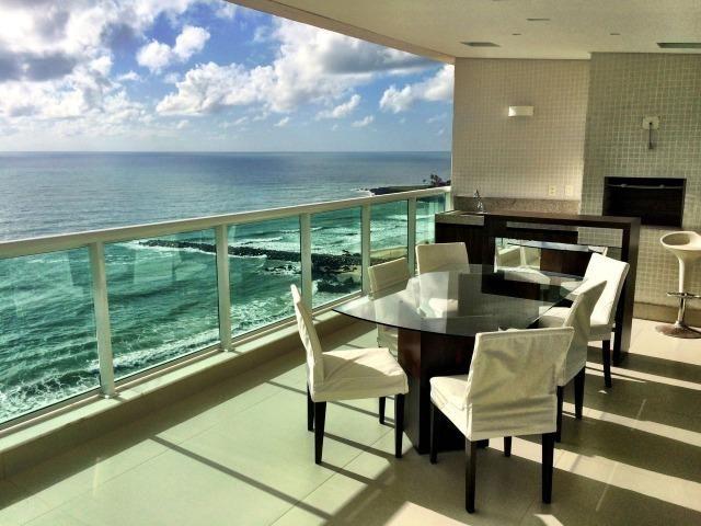 Apartamento de alto padrão em areia preta frente ao mar infinity 4 suites com vista mar