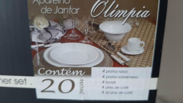 Jogo de Jantar em Porcelana Branca Novo - Foto 2