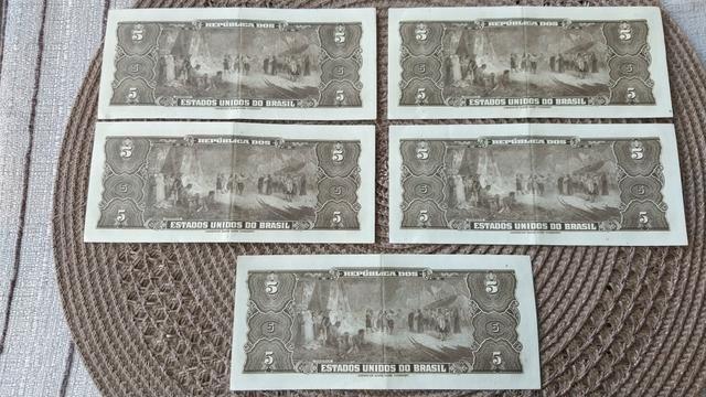 5 cédulas de cinco cruzeiros seriadas - Foto 2