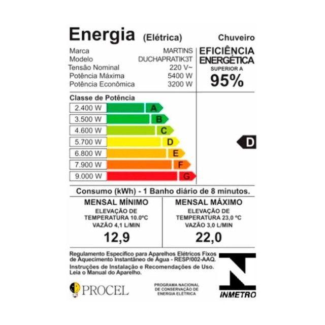 Chuveiro Ducha Pratik 3 Temperaturas 5400W 220V - Foto 3