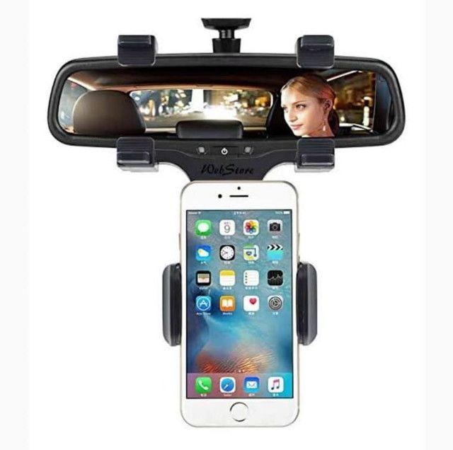 Suporte pra celular pra carro completo pra retrovisor - Foto 2